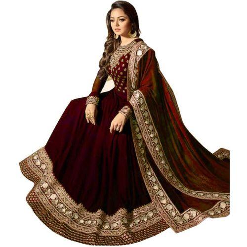 V-KARAN Vkaran Maroon Taffeta Silk Embroidered Anarkali Gown