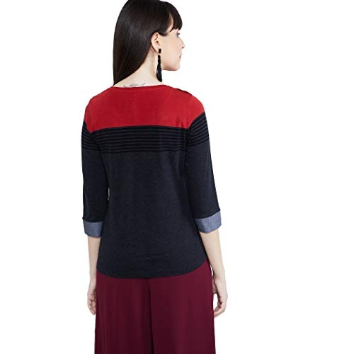 Max Women's Black Striped Regular Fit Top