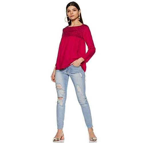 Styleville.in Women's Pink Plain Regular Fit Top
