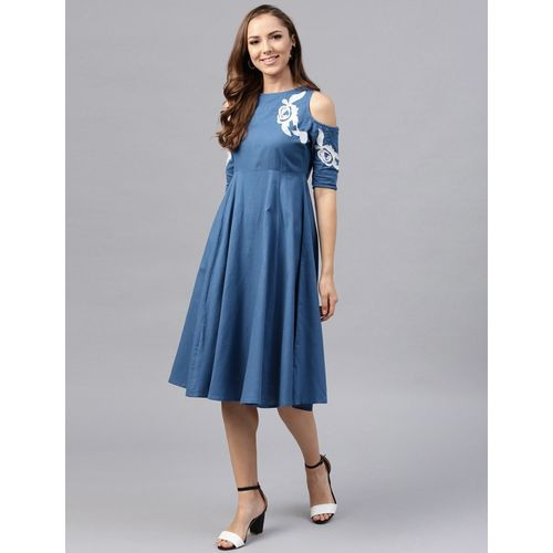 Sassafras Blue Cold Shoulder Fit & Flare Dress