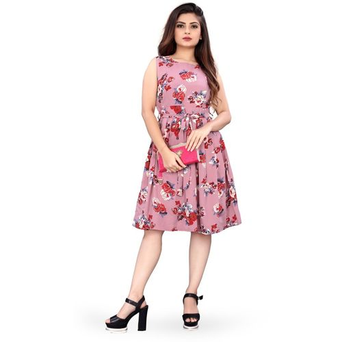 Micozy Pink Floral Printed Skater Dress