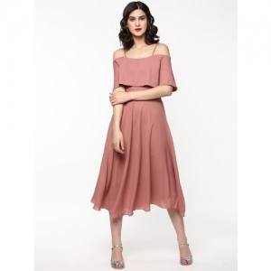 Sassafras Solid Partywear Fit and Flare Pink Dress