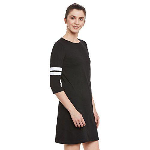 Miss Chase Black Cotton Panelled Shift Dress