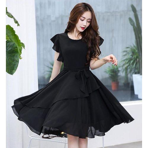 Vivient Women Black Plain Flair Georgatte Short Dress