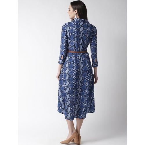 PLUSS high low snake print belted dress