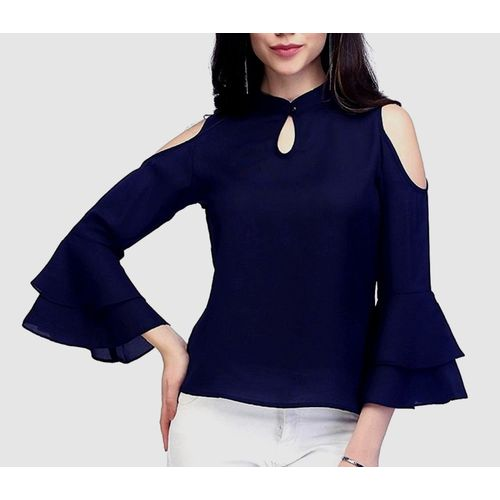 VAANYA Casual Bell Sleeve Solid Women Dark Blue Top