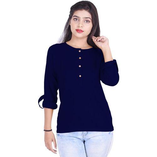 KURTI WORLD Casual Roll-up Sleeve Solid Women Dark Blue Top