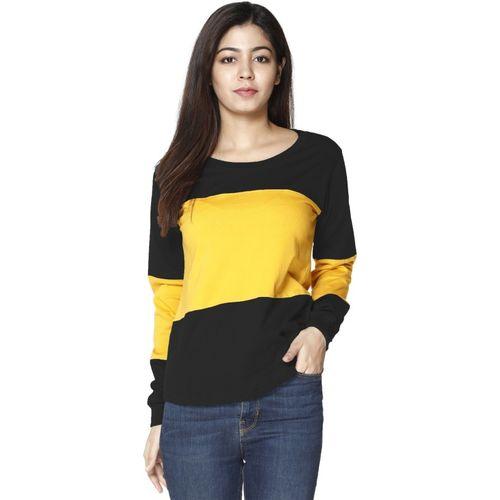 VIVINKS Solid Women Round Neck Black, Yellow T-Shirt