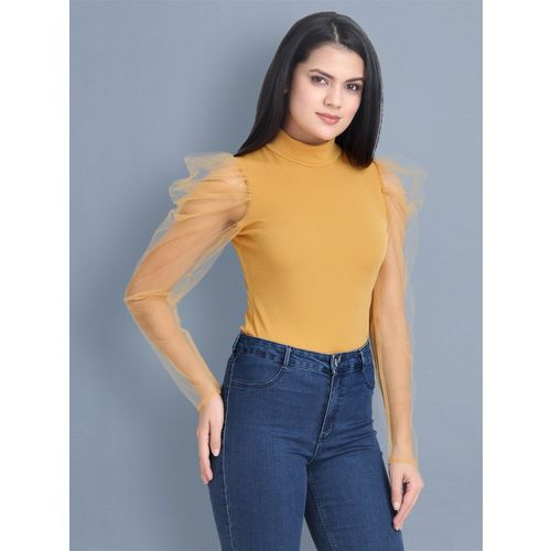 BuyNewTrend Casual Puff Sleeve Solid Women Beige Top