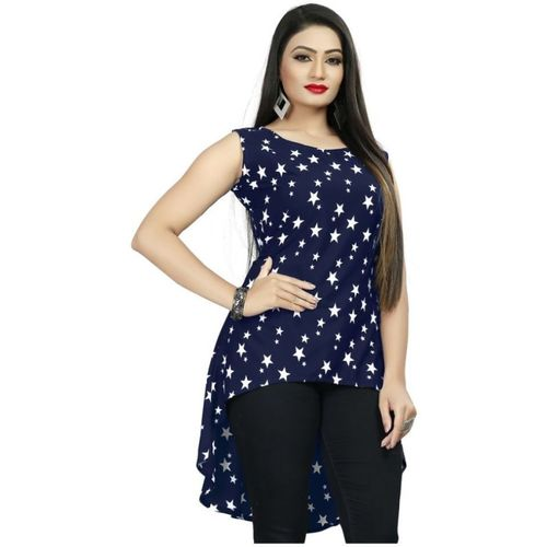 J 2 Fashion Casual No Sleeve Printed Women Blue Top