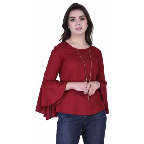 VAANYA Casual Bell Sleeve Solid Women Maroon Top