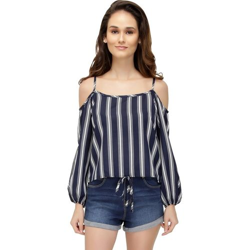 Chimpaaanzee Casual Cold Shoulder Printed Blue Top