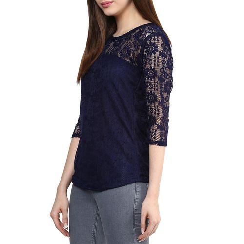 Mayra solid navy blue net top