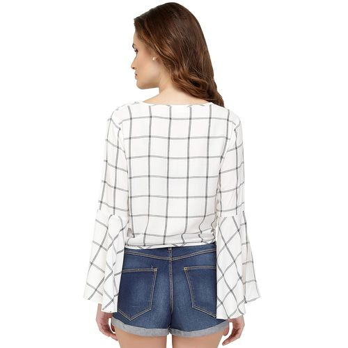 Chimpaaanzee tie knot front bell sleeved top