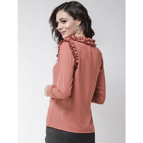 La Zoire frill trim tie knot neck top