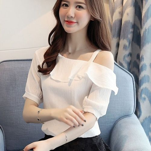 Rosella Neoen RWJ-0017 White Top With Single Cold Shoulder
