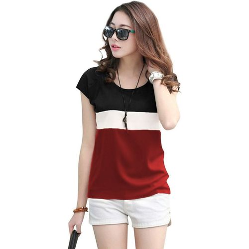 Yes'No Solid Women Round Neck Maroon T-Shirt