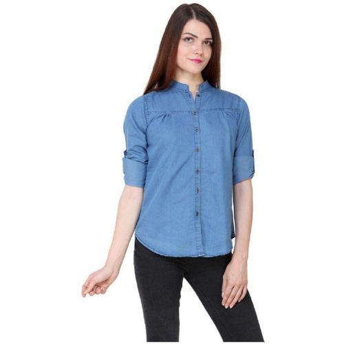 clothvilla Women Solid Casual Light Blue Shirt