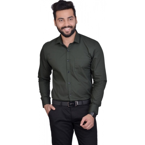5th Anfold Green Cotton Solid Formal Shirt