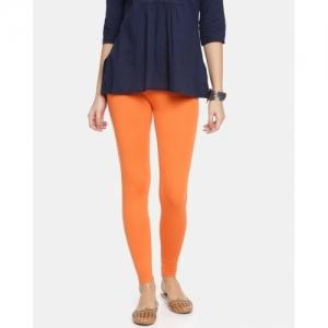 Twin Birds Orange Cotton Ankle Length Leggings