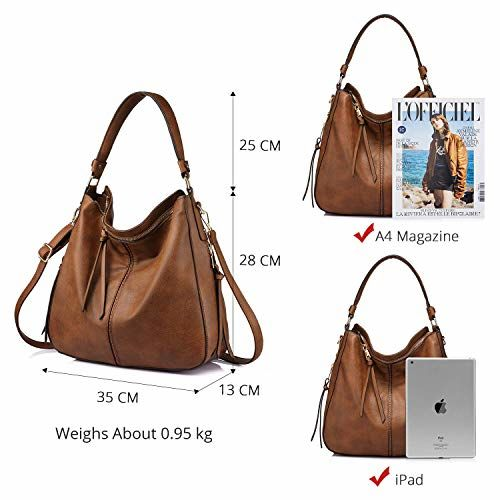INOVERA (LABEL) Women Handbags Shoulder Hobo Bag Purse With Cross Body Strap & Tassel, Brown