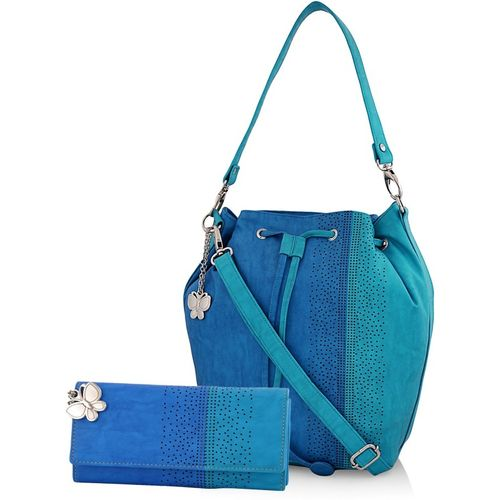 Butterflies Blue Polyurethane Hobo Bag