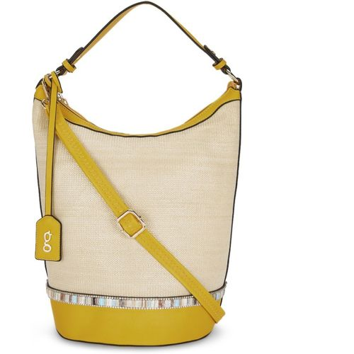 Global Desi Cream Polyurethane Hobo Bag