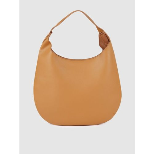 French Connection Mustard Polyurethane Hobo Bag