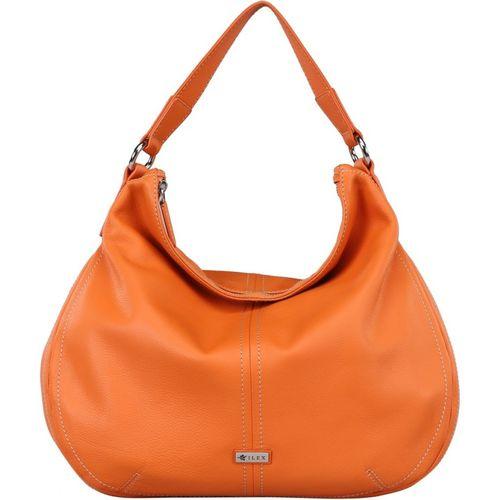 Ilex London Orange Genuine Leather Hobo Bag