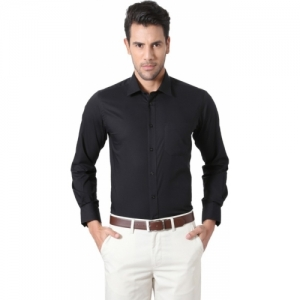 Peter England Black Cotton Solid Formal Shirt