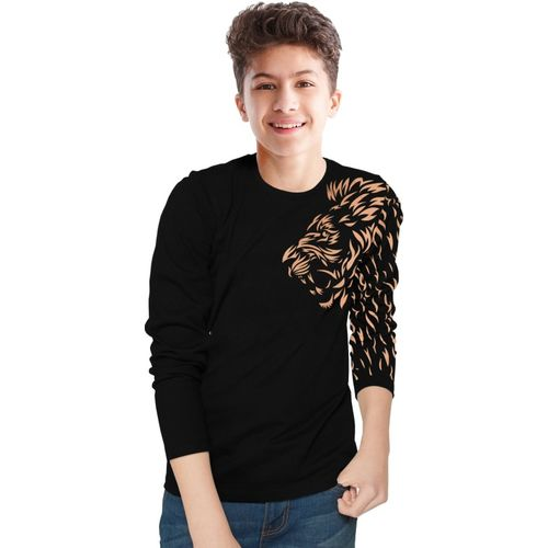 Tripr Boys Printed Pure Cotton T Shirt(Black, Pack of 1)