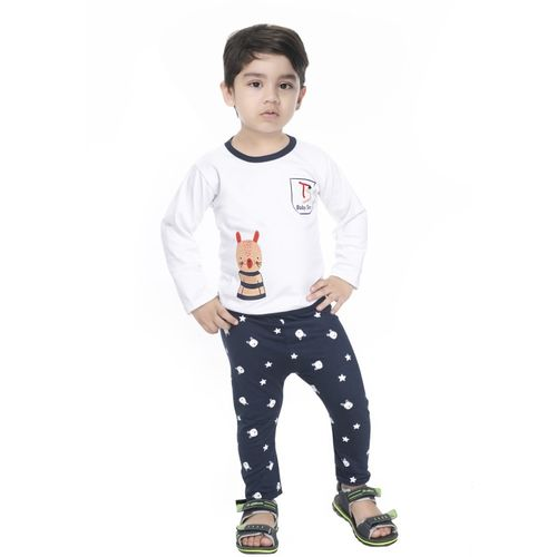 NEW GEN Boys Self Design Pure Cotton T Shirt(Blue, Pack of 1)