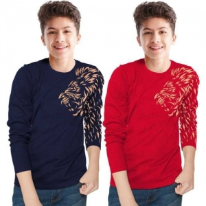 Tripr Boys Printed Cotton Blend T Shirt(Multicolor, Pack of 2)