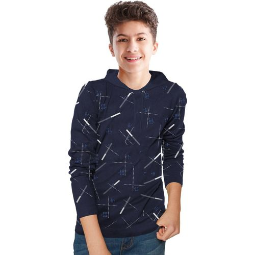 Tripr Boys Printed Pure Cotton T Shirt(Dark Blue, Pack of 1)