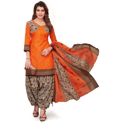 Saara Orange Poly Cotton Geometric Printed Salwar Suit Material