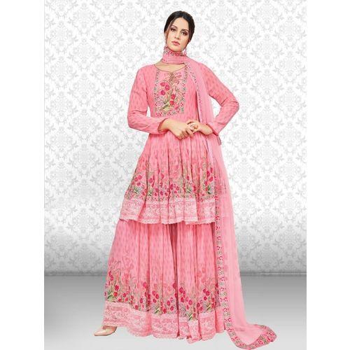 Divastri Georgette Floral Print Kurta & Sharara Fabric(Semi Stitched)