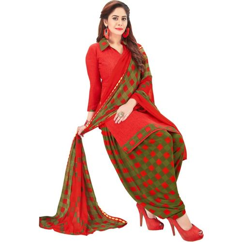 Saara Red Crepe Floral Printed Salwar Suit Material