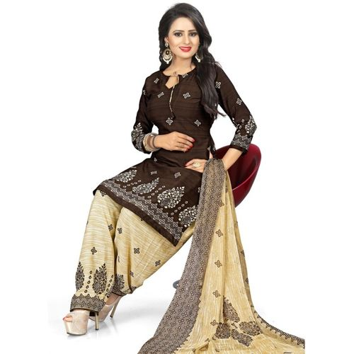 Saara Multi Color Poly Crepe Printed Salwar Suit Material