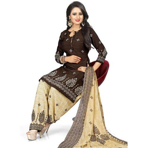 Saara Multi Color Poly Crepe Printed Salwar Suit Material