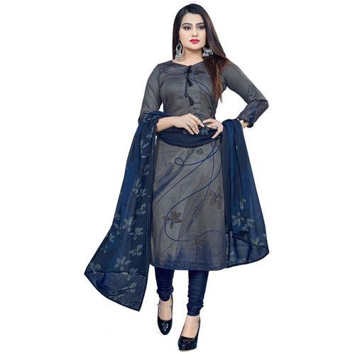DIVI Grey Crepe Printed Salwar Suit Material