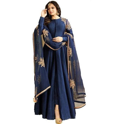 Mert India Poly Silk Embroidered Gown/Anarkali Kurta & Bottom Material(Semi Stitched)