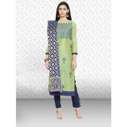 Divastri Chanderi Embroidered Salwar Suit Material(Unstitched)
