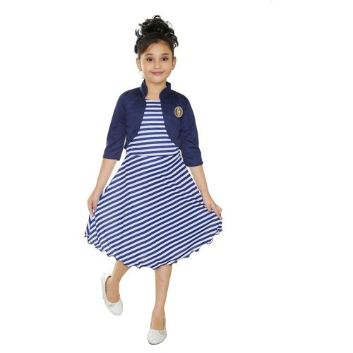 SmartRAHO Girls Midi/Knee Length Casual Dress(Dark Blue, 3/4 Sleeve)