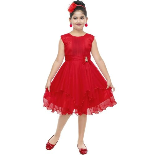 KAARIGARI Girls Midi/Knee Length Party Dress(Red, Sleeveless)