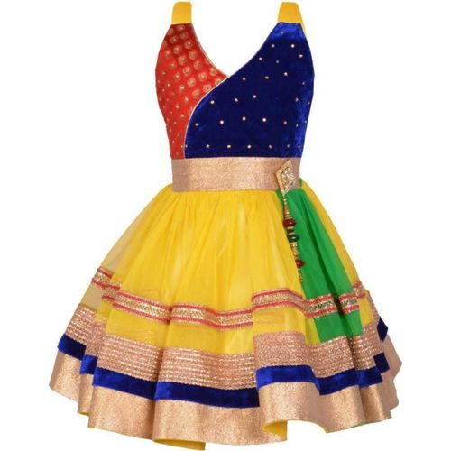 Ziva Fashion Girls Midi/Knee Length Festive/Wedding Dress(Yellow, Sleeveless)