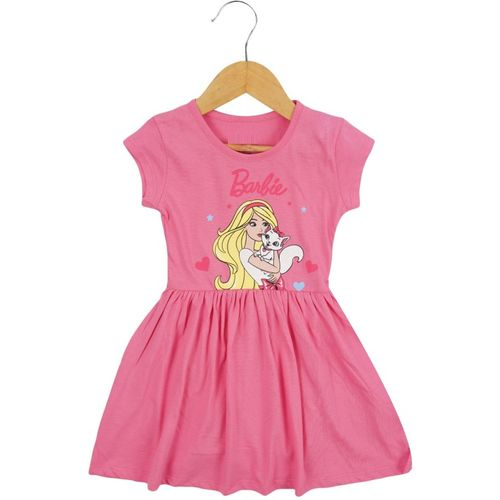 Icable Girls Midi/Knee Length Casual Dress(Pink, Half Sleeve)