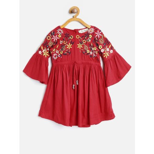 Bella Moda Girls Midi/Knee Length Casual Dress(Red, Cap Sleeve)