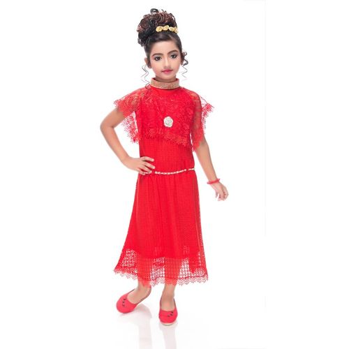 Beekay Girls Midi/Knee Length Party Dress(Red, Sleeveless)