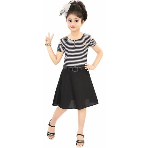 ADITI FAB Girls Midi/Knee Length Party Dress(Black, Fashion Sleeve)