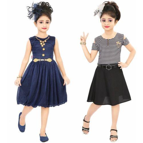 Style Junction Girls Midi/Knee Length Party Dress(Multicolor, Sleeveless)